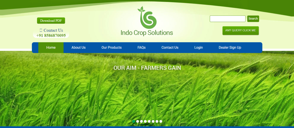 Indo Crop Solutions Website Design Webicules Technology